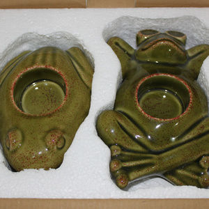 Party Lite Accents - PartyLite Green Frog Summer Tea Light Holders